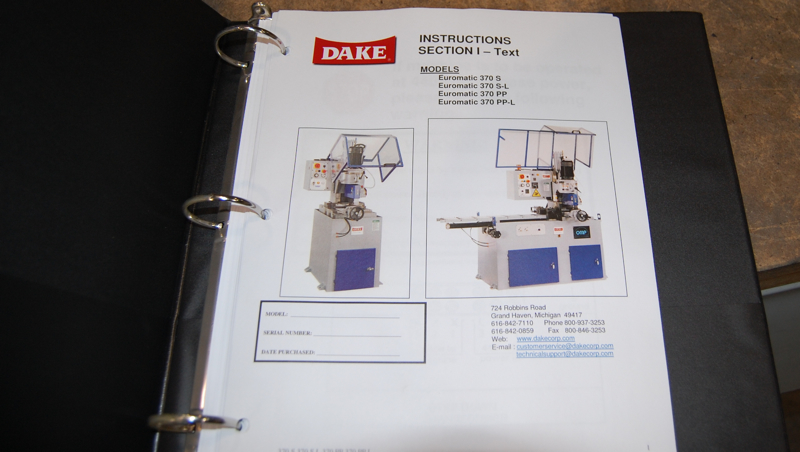 DAKE Euromatic 370s Semi Automatic Cold Saw